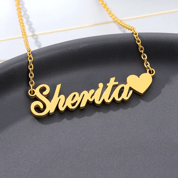 Personalized Custom Name Necklaces With Heart For Women Gold Silver Color Stainless Steel Chain Female Pendant Necklace Jewelry women silver luxury 316l stainless steel necklace fashion cross heart chain pendant jewelry accessories friendship necklace