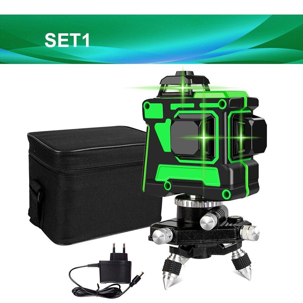 ° Rotação Recarregável 12 3D Verde Laser
