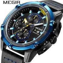 MEGIR 2020 الرياضة ساعة رجالي متعددة الوظائف توقيت التقويم شخصية ساعات كوارتز ساعة التاريخ Reloj Hombre