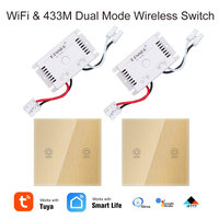 2+2PCS 1 channel crystal glass panel Tuya APP / Wifi touch switch, 220V smart home RF433 remote control light switch