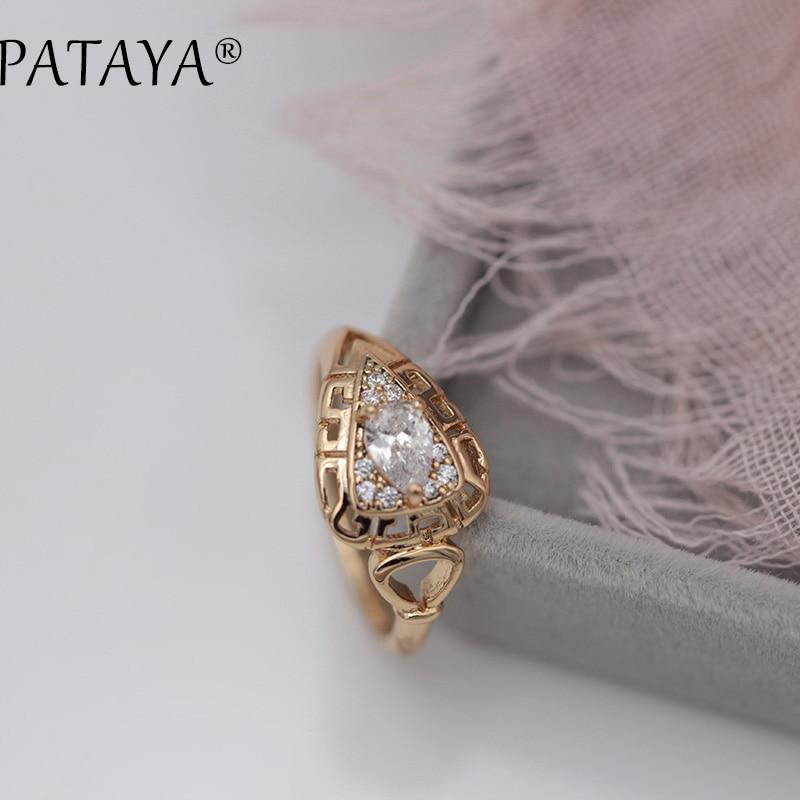 Новинка, женские кольца PATAYA, полые кольца из натурального циркона в форме капли воды, свадебная бижутерия из розового золота 585 пробы, милые ...