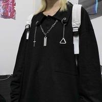 NiceMix Готический длинный рукав Femme Футболка женская одежда Harajuku Высокая уличная черные топы футболки с