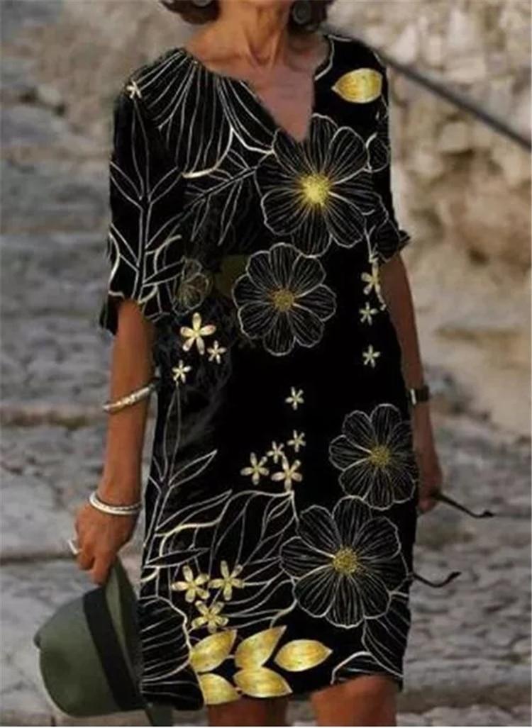 Fashion casual dress large size loose dress temperamental mid-sleeve dress 2
