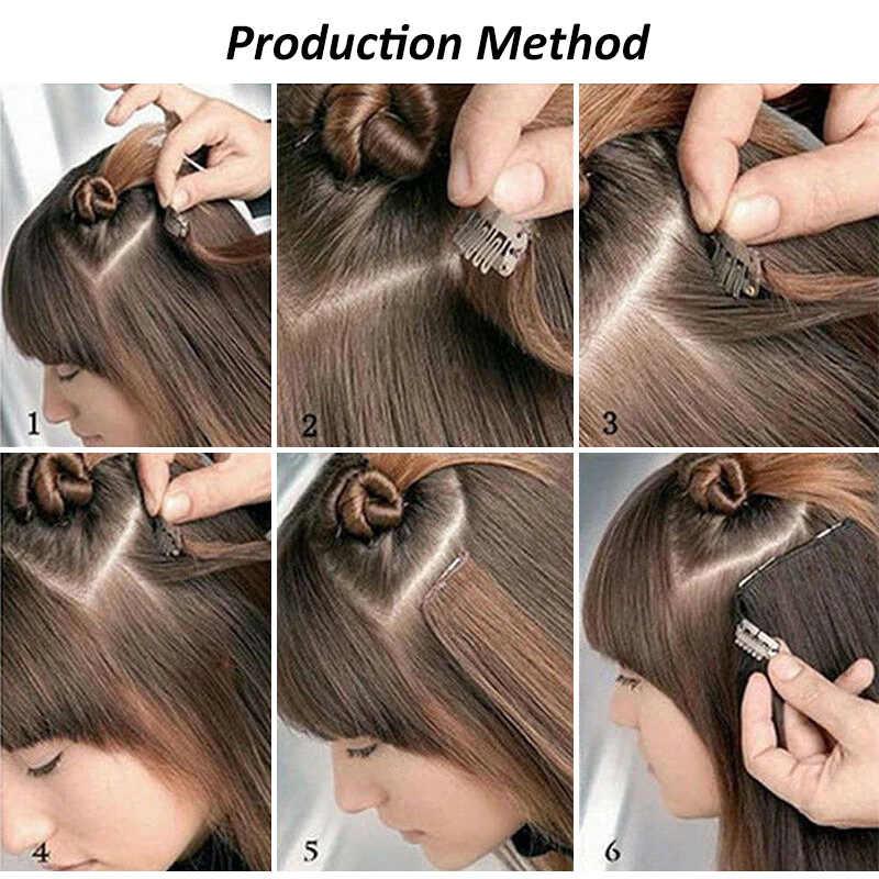 LISI HAAR Synthetische 16 Clips In Haar verlängerung 56cm 24 Inch Lange Gerade Haar Gefälschte Falsche Haarteil Clip In haar Verlängerung
