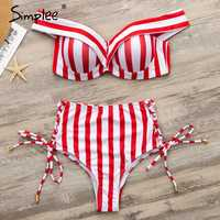 Simplee Sexy striped two pieces women bikini set Push up lace up swimwear High waist summer beach 2019 mujer bathing suit