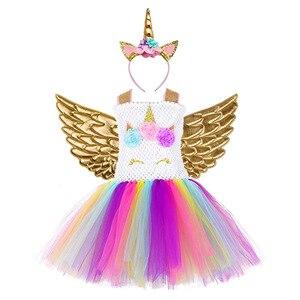 Image 3 - Arco íris princesa crianças unicórnio vestido menina unicórnio natal tutu vestido flor menina vestido de festa com unicórnio bandana asa conjunto
