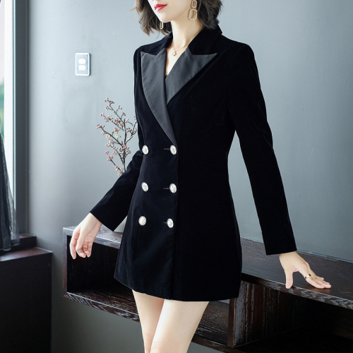 Gold Velvet Womens Blazers Long Sleeve High Quality Designer Coat Professional Coats And Jackets Women Double Breasted Jacket