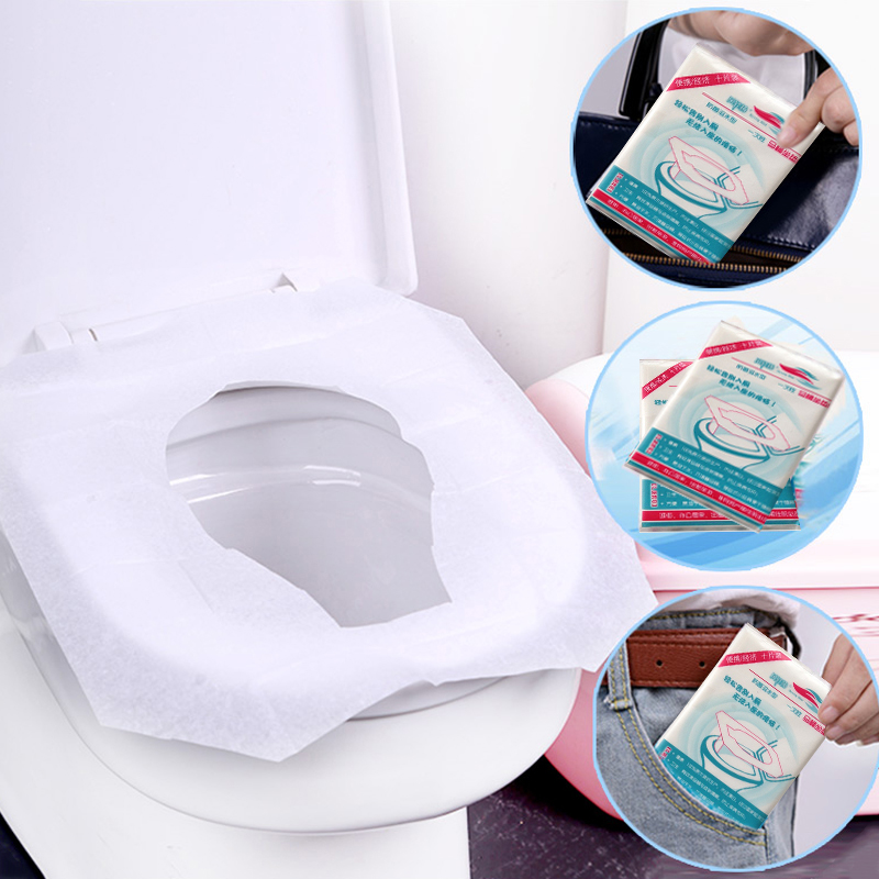10pcs / 50pcs disposable toilet seat cover toilet paper mat for travel outdoors Camping bathroom accessories toilet tools(China)
