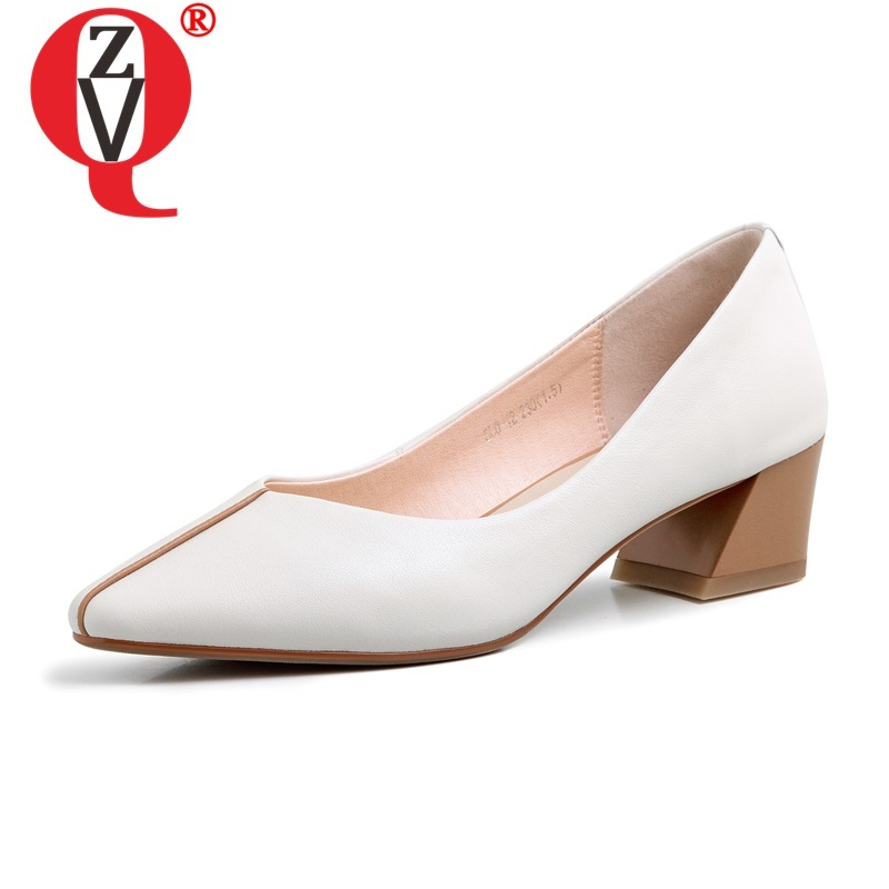 ZVQ Spring New Concise Women Pumps Outside Mid Heels Pointed Toe Handmade Genuine Leather Women Shoes Drop Shipping Size 34-39