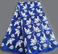Classic 5 yards blue white African Handcut Organza Lace fabric with lots of sequins high quality