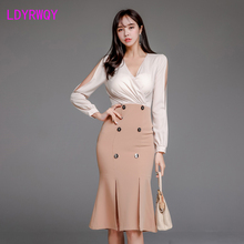 2019 new women's V-neck broken sleeves waist thin package hip fishtail split dress Knee-Length  Zippers  Full