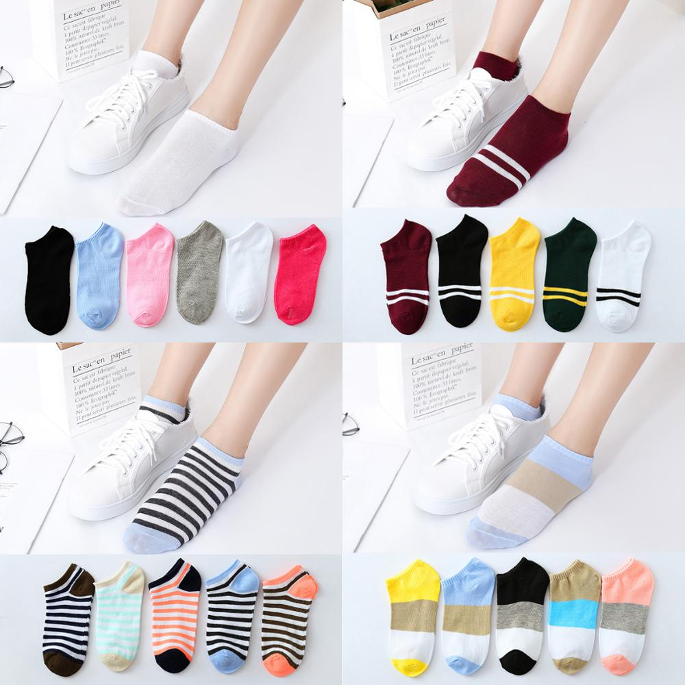 Носки женские в Корейском стиле 10 шт. = 5 пар/лот, милые короткие носки в стиле Харадзюку с принтом животных, кошки, медведя, кролика, Хэппи Сок...