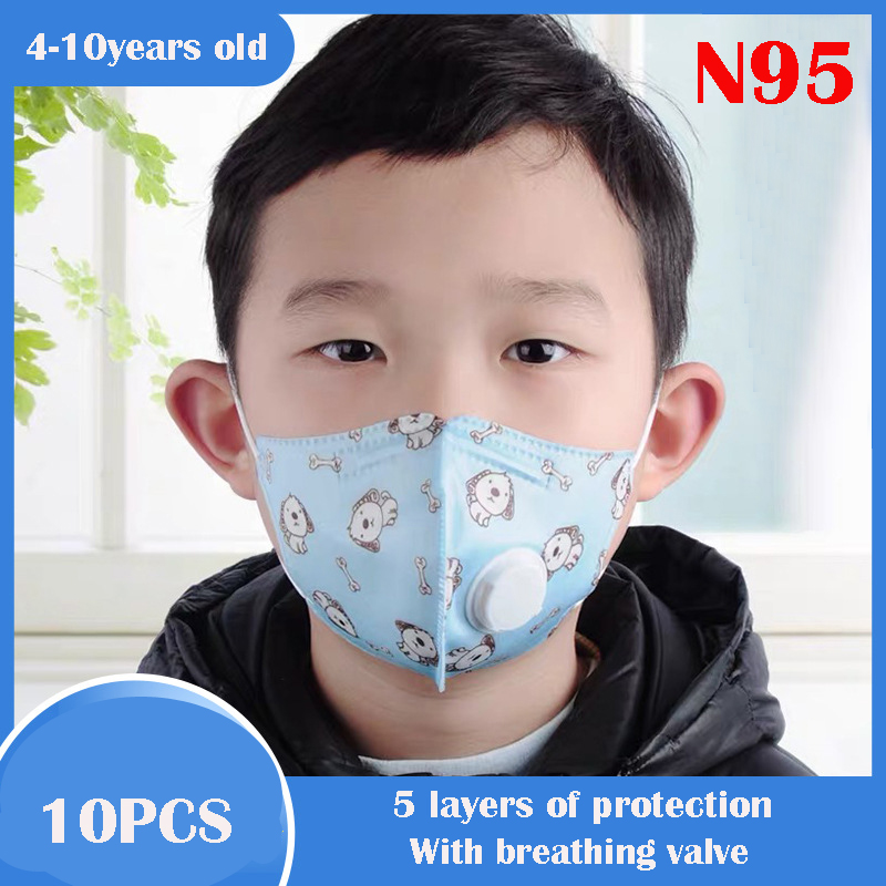 10pcs Kids N95 Face Mask With Filter Child Kawaii Disposable 5 Layer Protective Anti Dust PM2.5 Antivirus Kn95 Respirator Valve