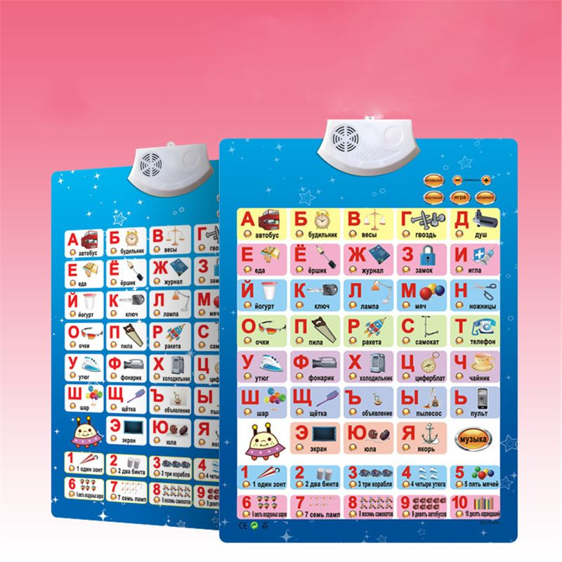 Russian Music Alphabet Talking Poster Russia Kids Education Toys Electronic ABC Y51E
