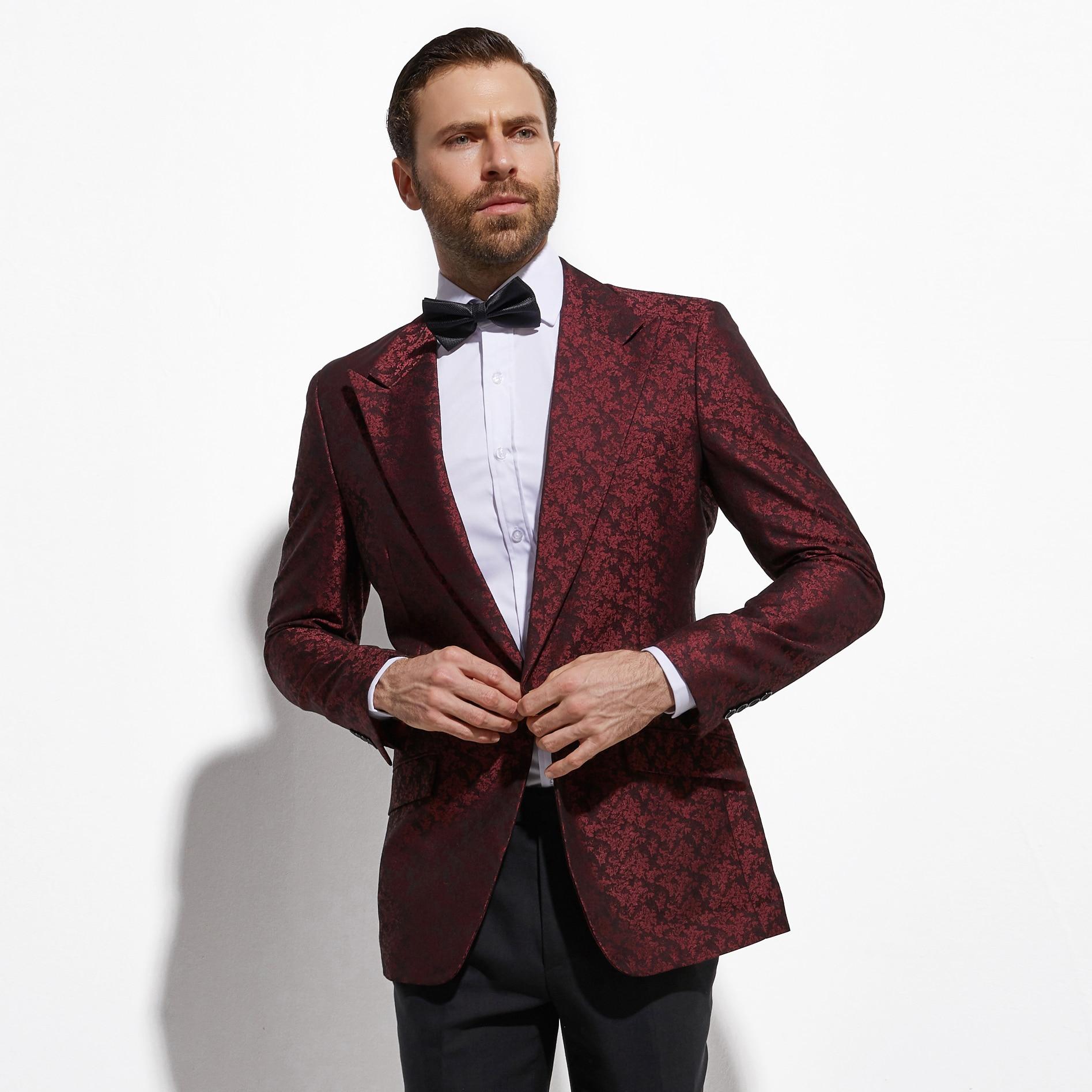 2020 Dark Red Jacquard Men Suit Jacket Fashion Blazer Slim Fit Custom Made Wedding Men Blazer Jacket Veste Homme Costume