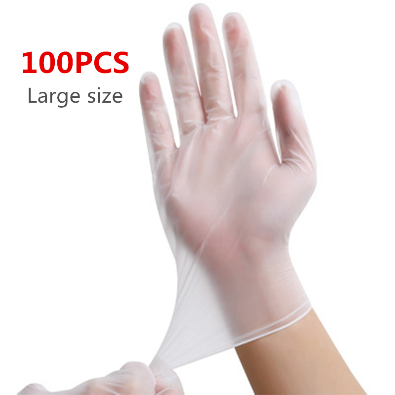 Lateefah 100PCS Universal Disposable Latex Gloves Cleaning Protective Transparent Gloves Protective Home Food For Safety
