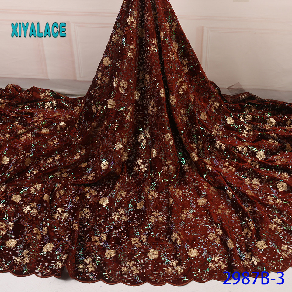 African Lace Fabric Nigerian 2019 High Quality 3D Net Lace Fabric Wedding French Sequins Tulle Lace Material For Dress YA2987B-3