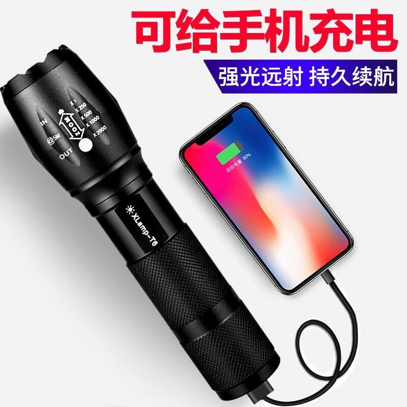 Home Outdoor Portable T6 LED USB Rechargeable Self Defense Zoom Flashlight Glare Outdoor Long-range Super Bright 5000 Zoom Torch