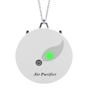 Air Purifier Household Negative Ion Air Purifier, Portable Necklace, for Adults and Children White(China)