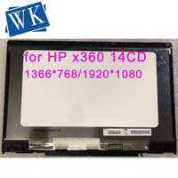 14.0 LCD Display Touch Screen Glass Digitizer Assembly With Frame For HP PAVILION X360 14 CD 14 CD0046TX N140BGA EA4 TPN W125