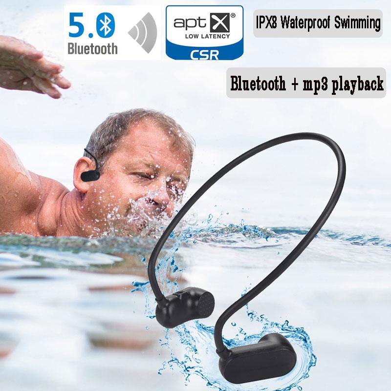 Jogadores de Música 5.0 e Mp3 Impermeável Natação Bluetooth Player Condução Óssea Fone Ouvido Alta Fidelidade Estéreo Portátil Usb Ipx8