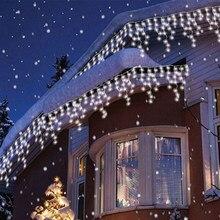5m ao ar livre luz de natal cortina icicle string luz droop 0.4-0.6m guirlanda cortina lâmpada decoração do feriado para janela de casa