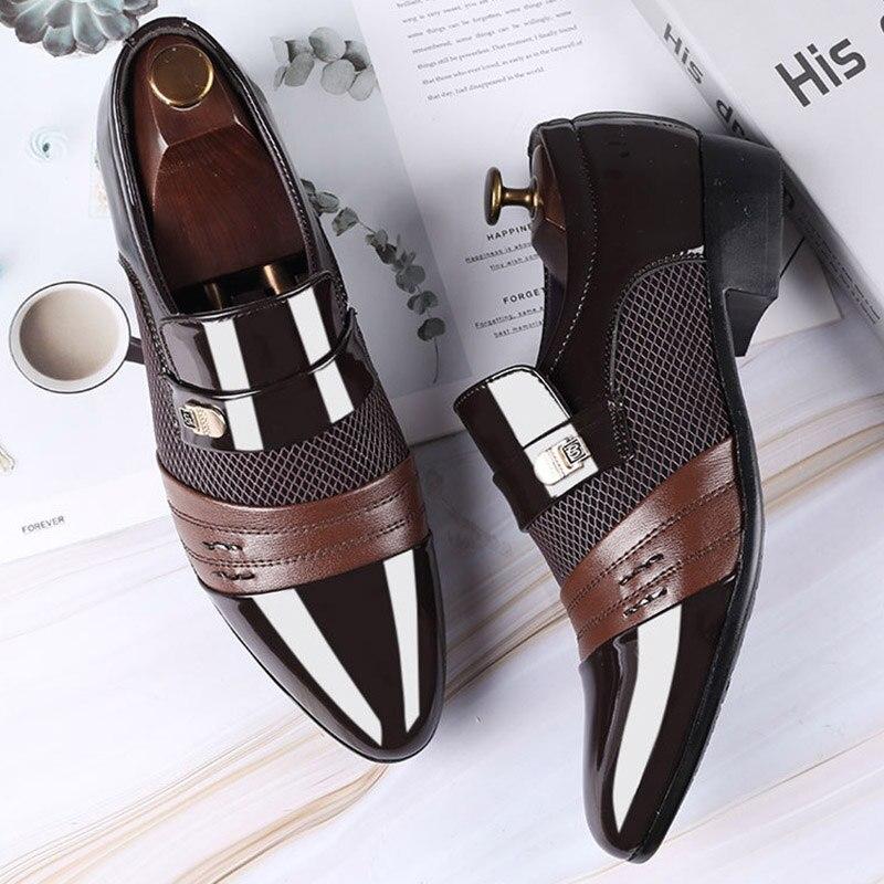 REETENE Fashion Slip On Men Dress Shoes Men Oxfords Fashion Business Dress Men Shoes 2019 New Classic Leather Men'S Suits Shoes 4