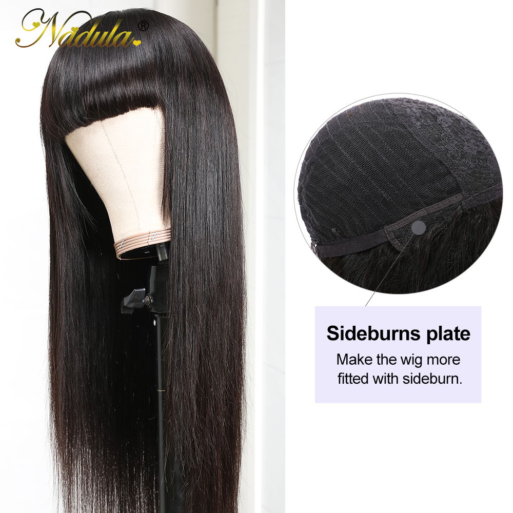 Nadula Hair Natural Machine Made Wig Straight Long Wig With Bangs  Wigs With Bangs  4