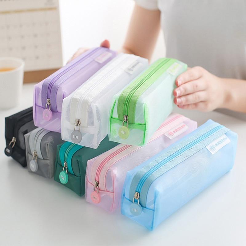 School Mesh Pencil Cases Kawaii Cute Solid Color Transparent Pencil Box School Student Pen Bag Supplies Lapis Stationery 05170