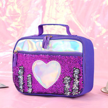 1pcs Kids Insulated Lunch Bag Sequins Food Drink Organizer Tote Reusable Box Cooler Picnic Thermal For Children Women