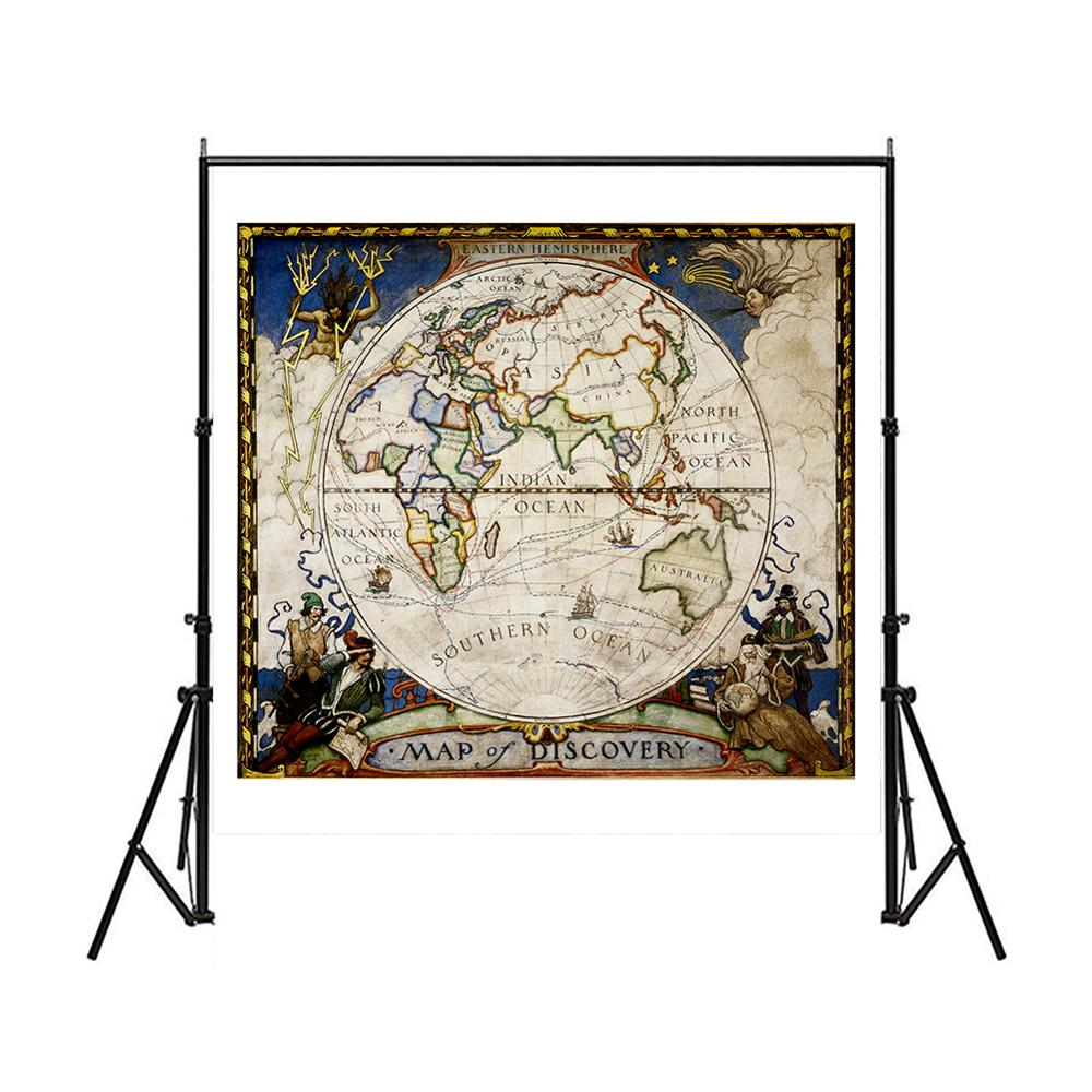 150x150cm Eastern Hemisphere Vintage Map Of Discovery No-fading Foldable Medieval Style Map