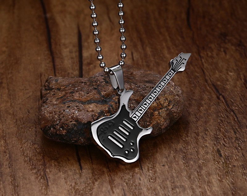 Trendy Guitar Necklace Pendant Stainless Steel