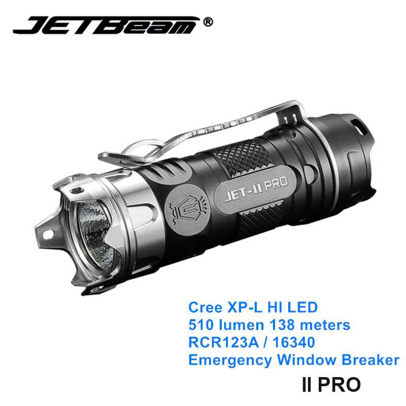 Jetbeam II PRO Cree XP-L LED EDC Mini Torch Light 16340 Small Camping Flashlights With Self Defense Window Breaker
