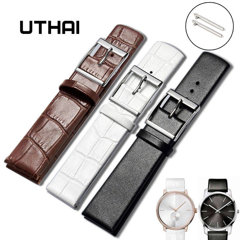 UTHAI Ultra-thin Leather Watch Strap 14-24MM For CK Watch/Samsung Galaxy Watch/moto360 II Watch Band Quick Release Watchband Z16