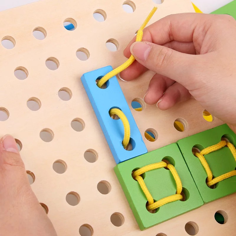 Various Shapes DIY Crafts Threading Board Child Kids Wooden Toy Animal Lacing String Jigsaw Puzzle Shoelaces Beads Toys