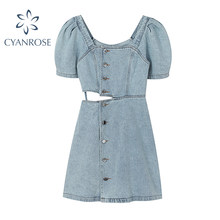 Vestido de verano de tela vaquera con cuello cuadrado, minivestido de Jean con estampado de detección de cintura, Estilo Vintage, 2021