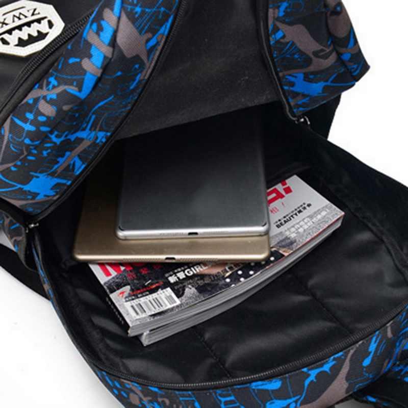 3 pc/Set Oxford Mochilas À Prova D' Água Meninos Meninas Sacos De Escola Para Adolescentes Saco Menino Ombro Schoolbag Livro Azul