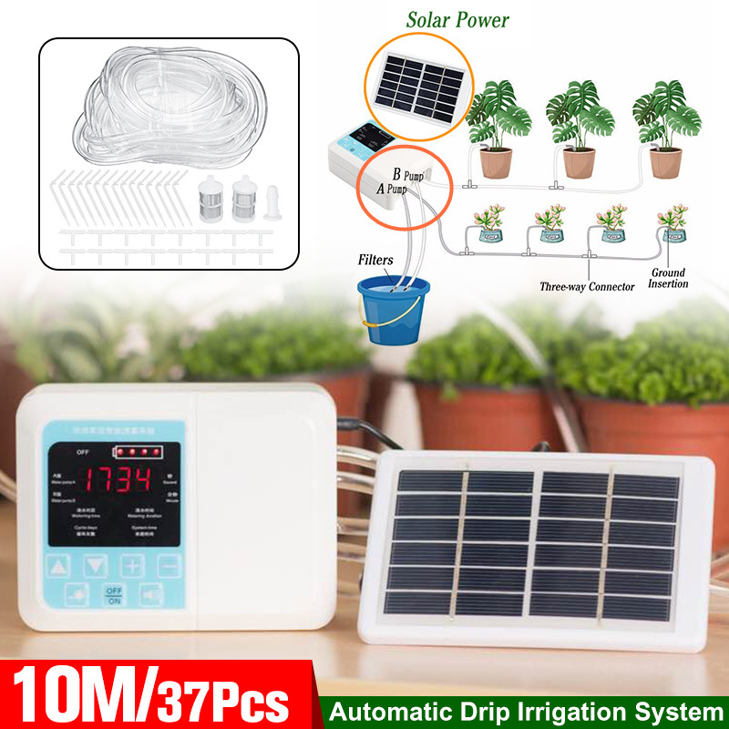 2 Pump Intelligent Garden Automatic Watering Device Solar Energy Charging Potted Plant Drip Irrigation Water Pump Timer System