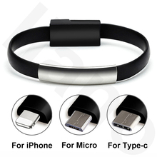New Bracelet Micro USB Cable Type C USB 8 Pin Data Charging Cable For iPhone 12 XS Max