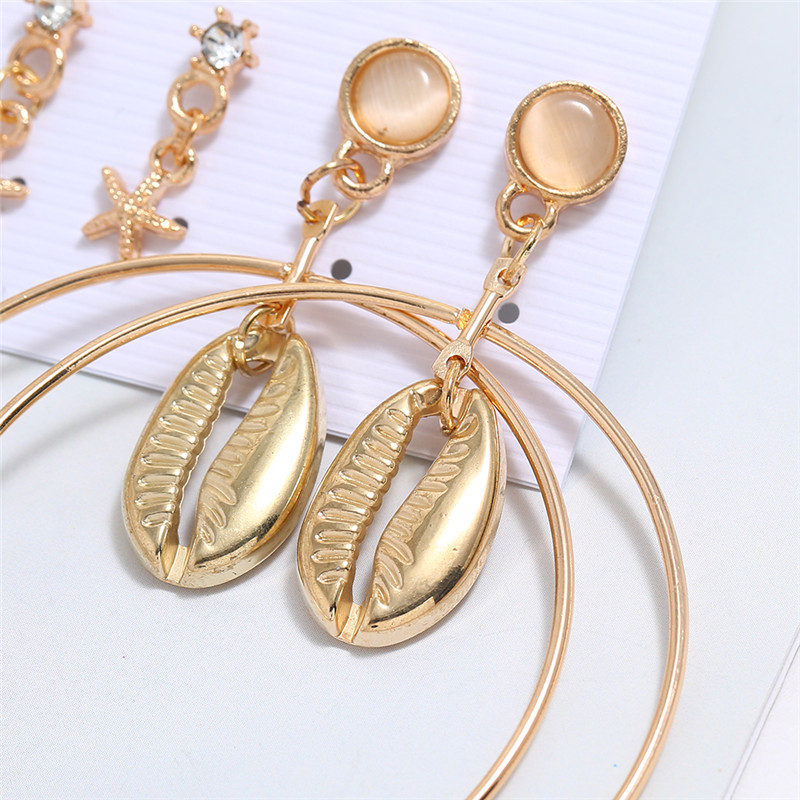 HOCOLE Fashion Geometric Gold Color Stud Earrings Set For Women Metal Shell Drop Earring 2019 Brincos Beach Jewelry 3 Pair Set in Drop Earrings from Jewelry Accessories