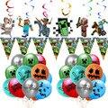 Пиксельный Мир мой куб игра вечерние День рождения вечерние украшения шар пиксель войны баннер шар Baby Shower поставки