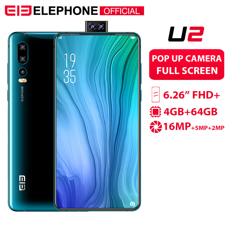 Elephone U2 16MP Pop Up Câmera de telefone Celular Android 9.0 Octa Núcleo 6 MT6771T GB + 128G 6.26