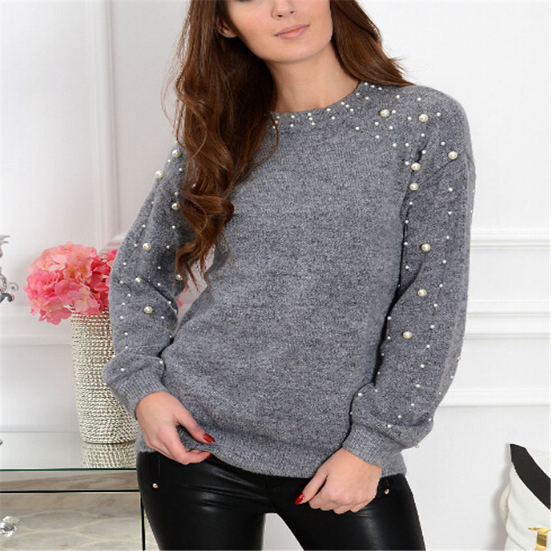 Fashion Women Long Sleeve Solid Pearl Knitted Oversized Loose Sweater Jumper Ladies Autumn Winter Pullover Tops