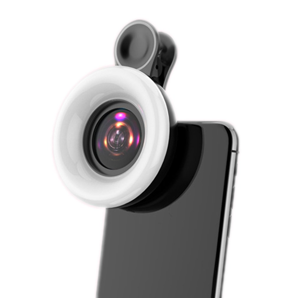 Mobile phone photo fill ring light external universal wide angle led macro fish eye beauty six in one lens self timer artifact|Mobile Phone Lens| |  - title=