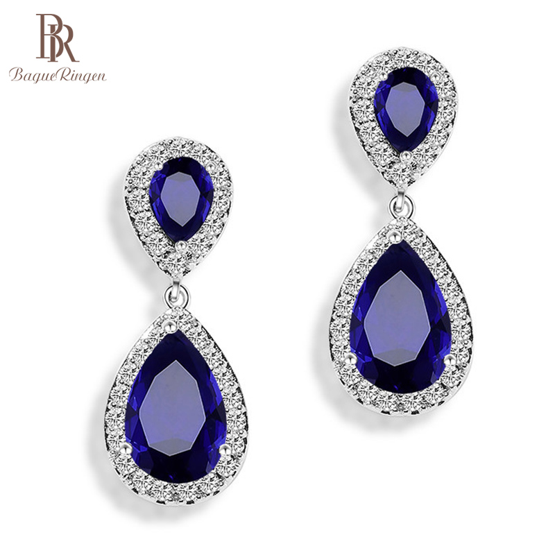 Bague Ringen Water Drop Shaped Earrings For Women Trendy Silver925 Jewelry Female Long Ear Drops For Banquet Party Ruby Sapphire
