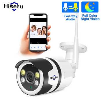 Hiseeu câmera de segurança 1080 p 720 p 2.0mp, vídeo sem fio com wi-fi, 2mp e à prova d' água, áudio bidirecional, ip uso externo p2p bala onvif