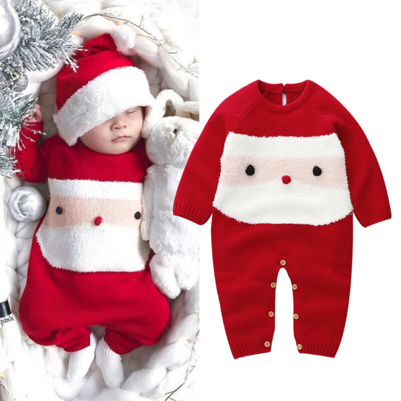 Baby Boy Girls Christmas Santa Claus Xmas Costume Outfit Clothes Romper Jumpsuit