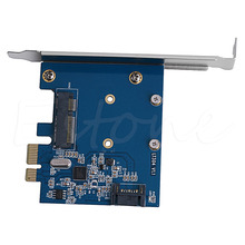 1pc PCI-E PCIe to mSATA SSD and SATA 3.0 Combo Extender Adapter Card 6.0Gbps