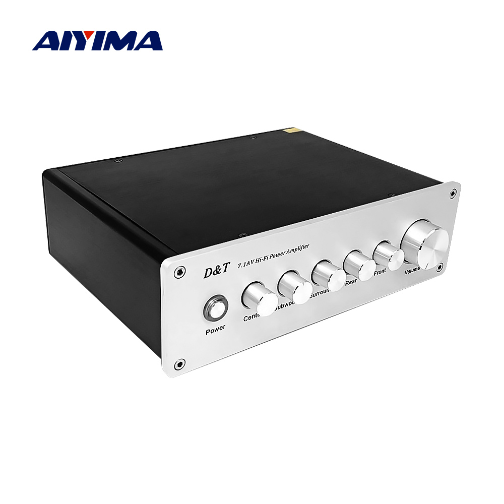 AIYIMA 7.1 Home Theater Power AV Amplifier 8x20W 8 Channel Audio Sound Amplifier Active Subwoofer Speaker Amplificador