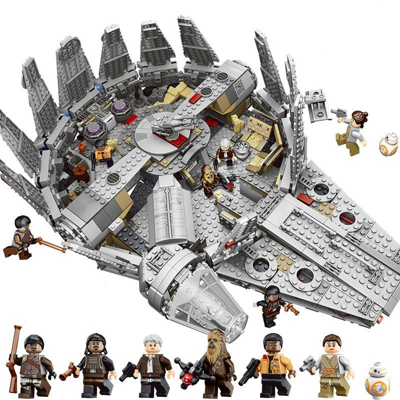 New  In Stock 1381Pcs Compatible Legoinglys Star Wars Millennium 05007 Falcon Spacecraft Building Blocks Birthday Gift Toys